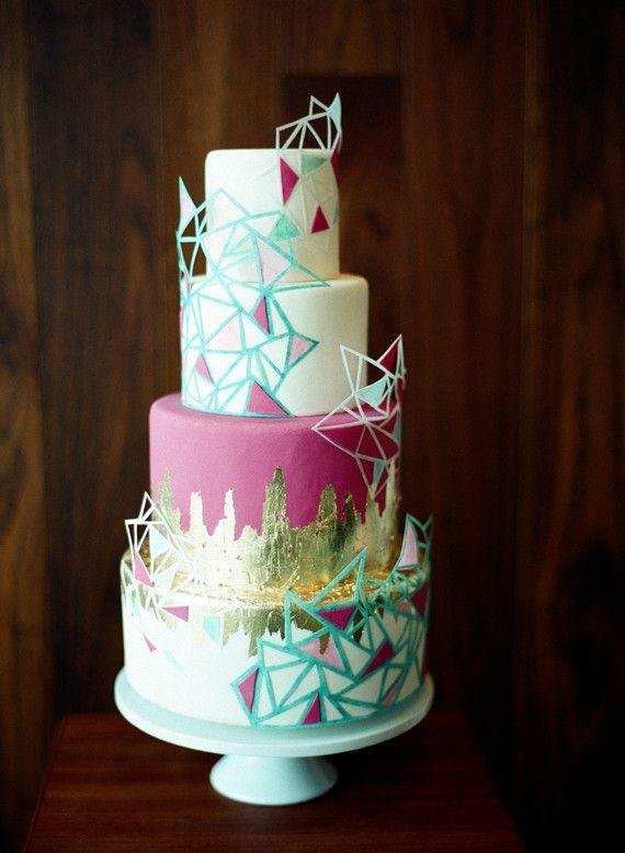 Geometric modern wedding cake