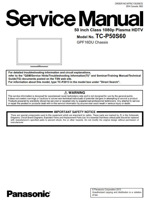Panasonic Tc P50s60 50ps64 Plasma Tv Service Manual Tv Services Repair Guide Plasma