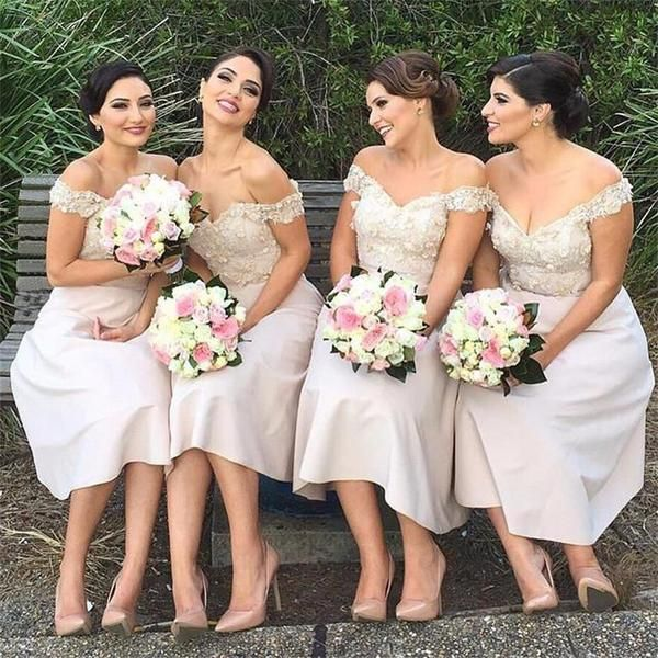 2018 Short  Floral A Line Cheap Maid Of Honor Keen Length Bridesmaid Dresses , Wedding Party Gown,PD0257