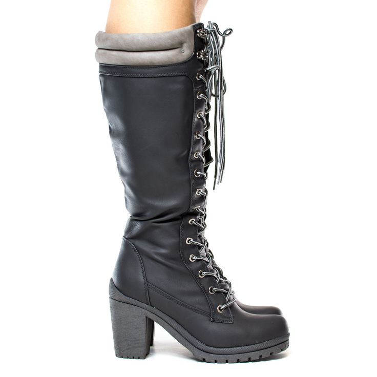 Hanson3 Black By Liliana, Knee High Lace Up Padded Ankle Collar Lug Sole High Heel Boots