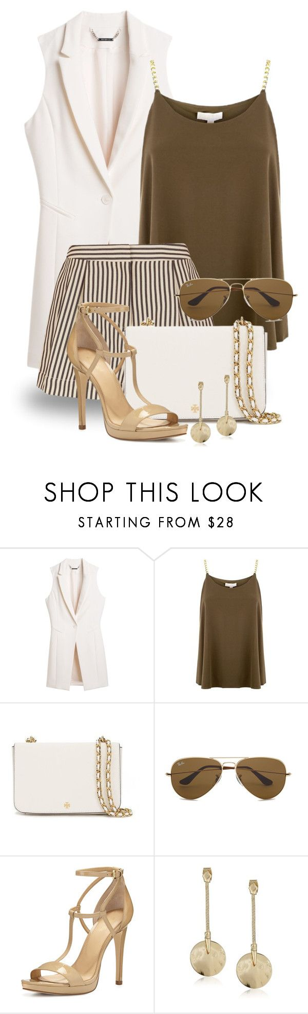 """""""Shorts + Vest 1347"""" by boxthoughts ❤ liked on Polyvore featuring White House Black Market, MICHAEL Michael Kors, 3.1 Phillip Lim, Tory Burch, Ray-Ban and Robert Lee Morris"""