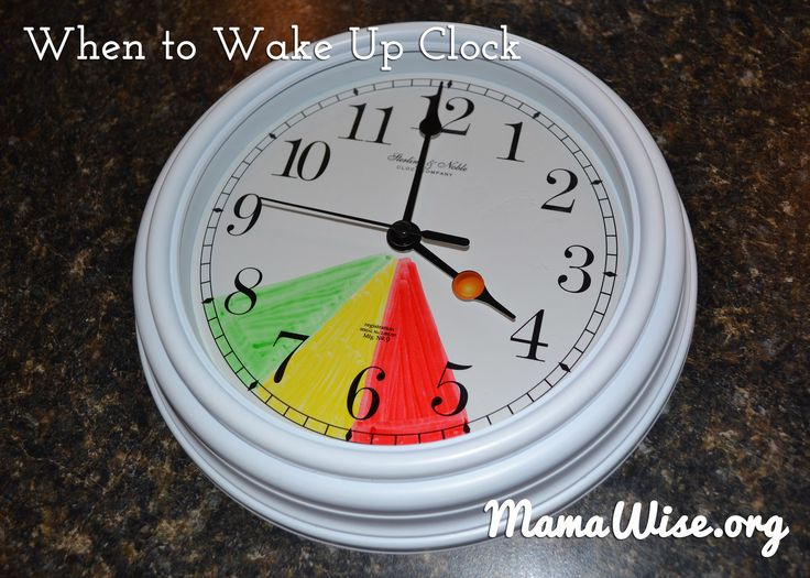 """MamaWise.org  Help your little ones know when it's time to come out of their room for the day!  Red=Stay in Bed, Yellow=Mellow (quiet play in room), and Green=Go!  Come on Out!  Learn how to make and use a """"When to Wake Up Clock"""" on Mamawise.org!"""