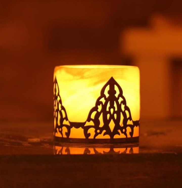 شمعدان مدور من رخام البستر ونحاس مقاس 6 سم و 8 سم Novelty Lamp Lamp Table Lamp