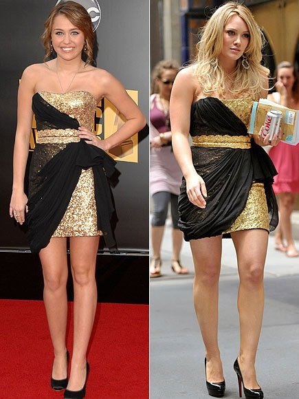 Miley Cyrus and Hilary Duff wearing the same black and gold dress!