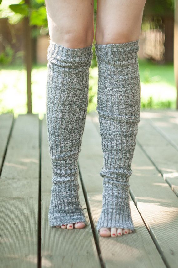 Yoga socks / dance socks / leg warmers / boot socks - Grey pink, very long, c...