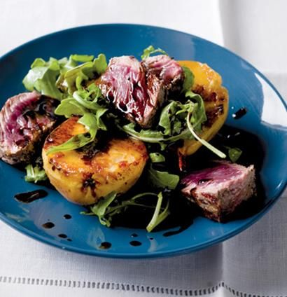 Seared ostrich fillet and baked pear salad