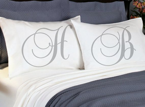 Monogram Initial Couples Pillowcases Personalized Pair of Pillow Cases. Boyfriend Girlfriend Couple Anniversary His Hers Husband Wife Pillow Cases