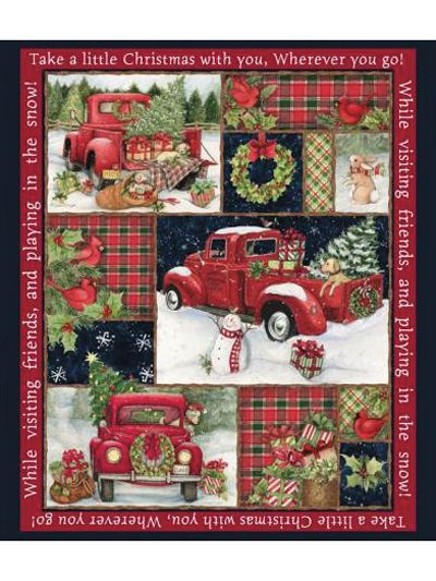 Christmas Red Truck Collage Panel 36 Quot X 44 Quot Quilting