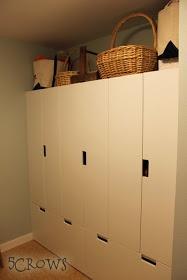 Ikea Stuva wardrobe over bench combination for mudroom.