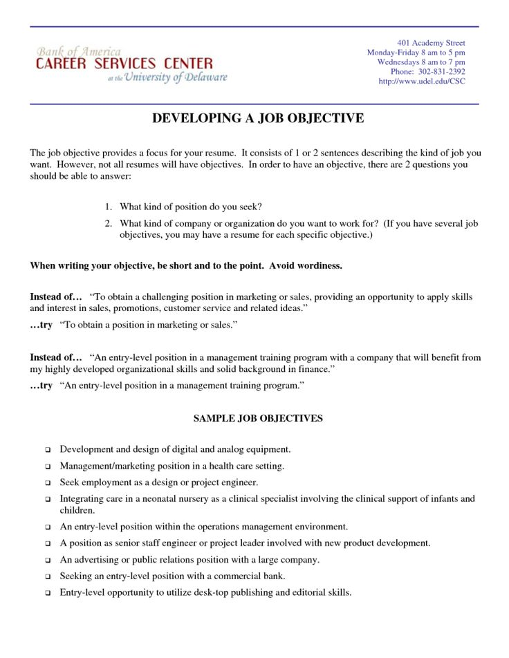 Examples Of Objective Statements For A Resume  Resume Examples