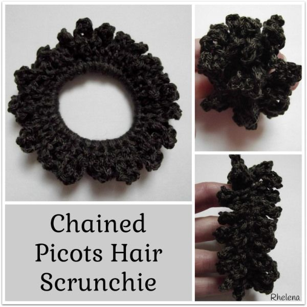 Chained Picots Hair Scrunchie ~ FREE Crochet Pattern