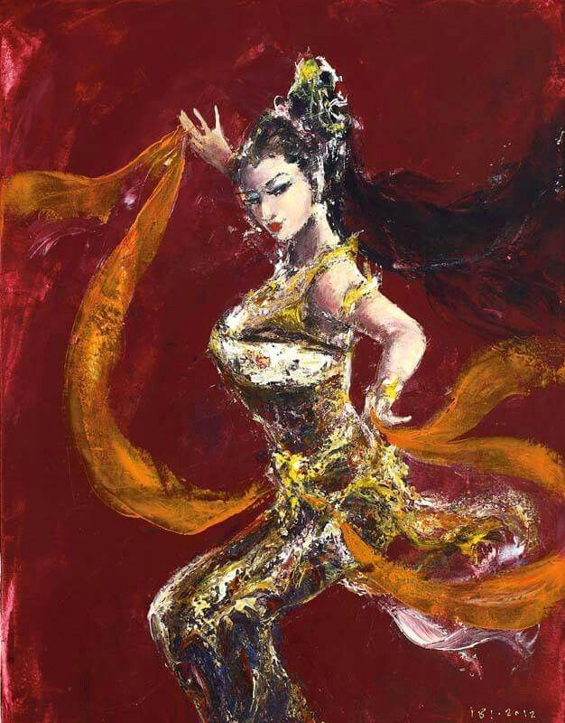 the eternal female dance..... by the great balinese painter Ida Bagus Indra