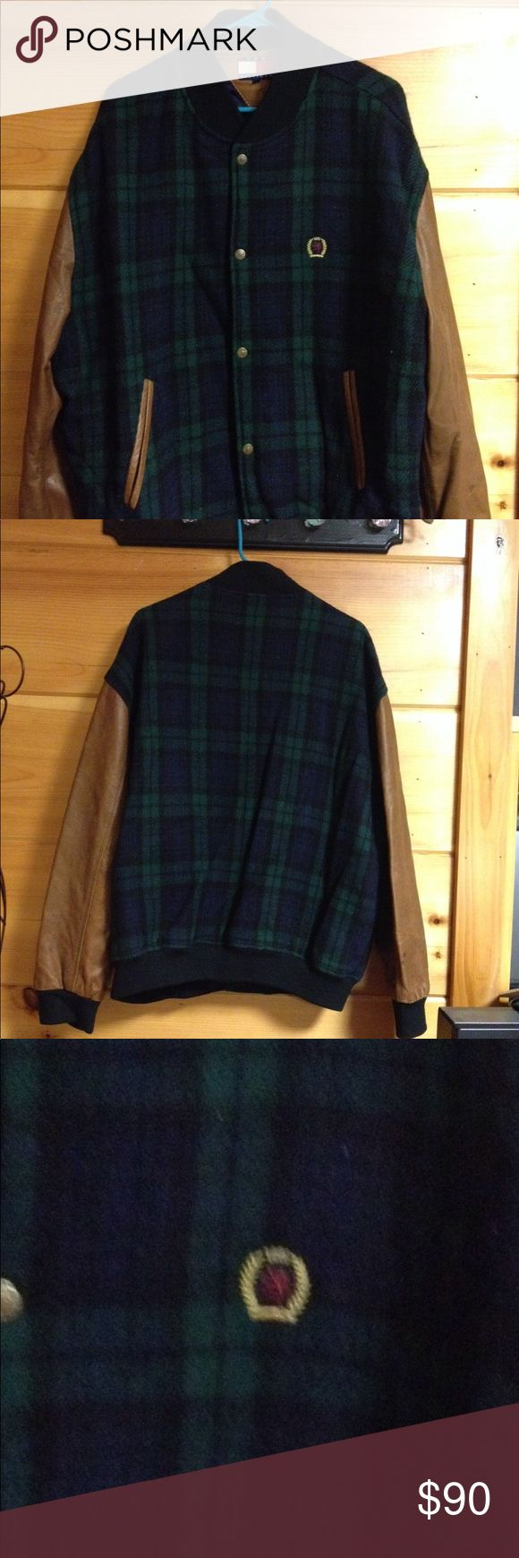 Tommy Hilfiger vintage bomber jacket wool Good condition green and blue plaid Tommy Hilfiger wool bomber jacket.  Please note stains on each sleeve.  Could possibly be removed when dry cleaned.  Please see pics.  Size XL Tommy Hilfiger Jackets & Coats Bomber & Varsity