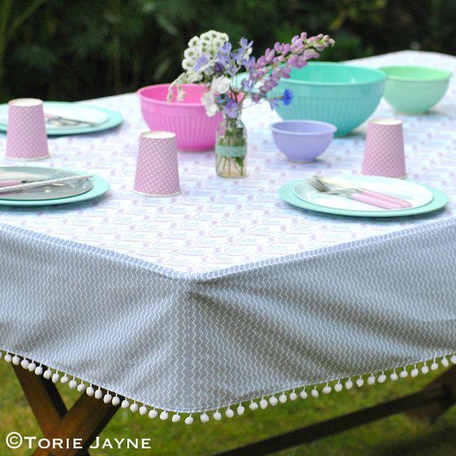 pom pom trim tablecloth tutorial more