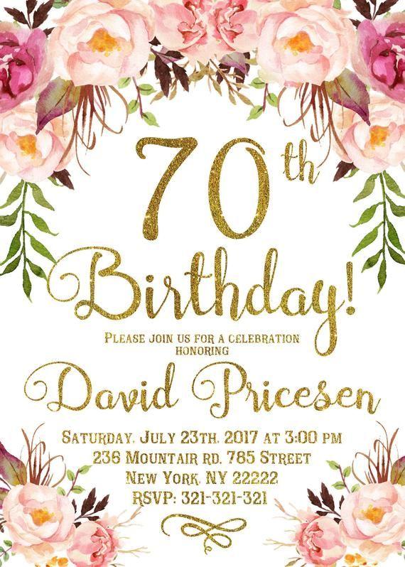 70th Birthday Invitation For Women 70th Birthday Invitation