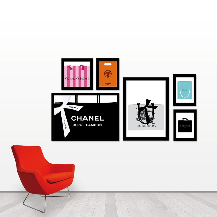 Luxury shopping bag art framed. A great idea for dressing room, walk in closet, bedroom. Set of six prints!