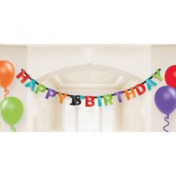 Poze Decoratiune Banner Party Majorat Happy Birthday 18 ani 213cm