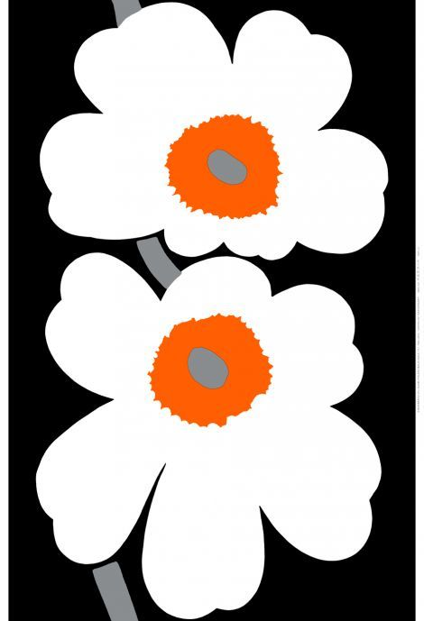 Unikko 50 Years Hw Sateen Fabric (black, white, orange) | Fabrics, Sateens & Batistes | Marimekko