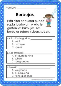 Spanish Reading Comprehension Passages - Level Two ($)