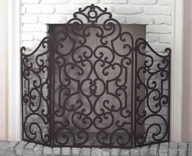 Tuscan Scrolling Iron 3 Panel Fire Place Screen Gold Fireplace