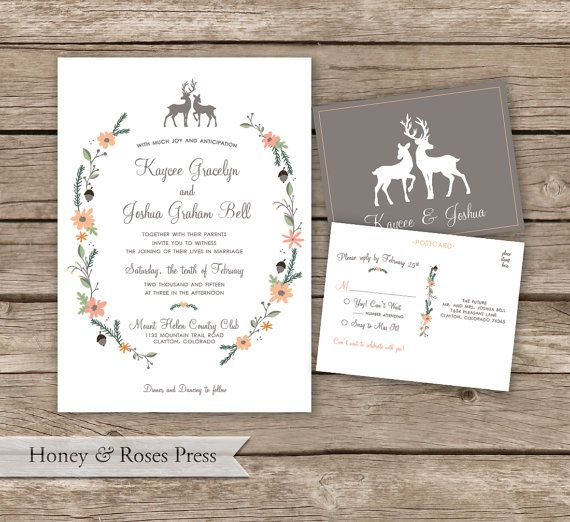 A woodland wedding invite, perfect for the outdoor or nature inspired wedding. All colors can be changed. Additional items are available upon