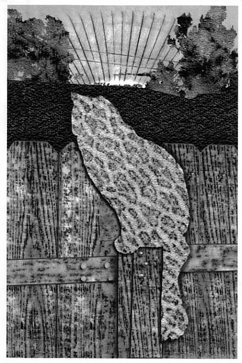 Binkie in Texture, 2004 - computer manipulated graphite texture rubbings by Susan Weselnick