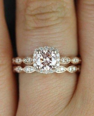 Rose Gold Pink Diamond Cushion Halo Engagement Ring
