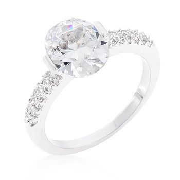 Clear Oval Cubic Zirconia Engagement Ring