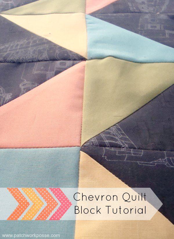 Easy Chevron Quilt Block Tutorial | patchwork posse #quiltblock #diy #chevron