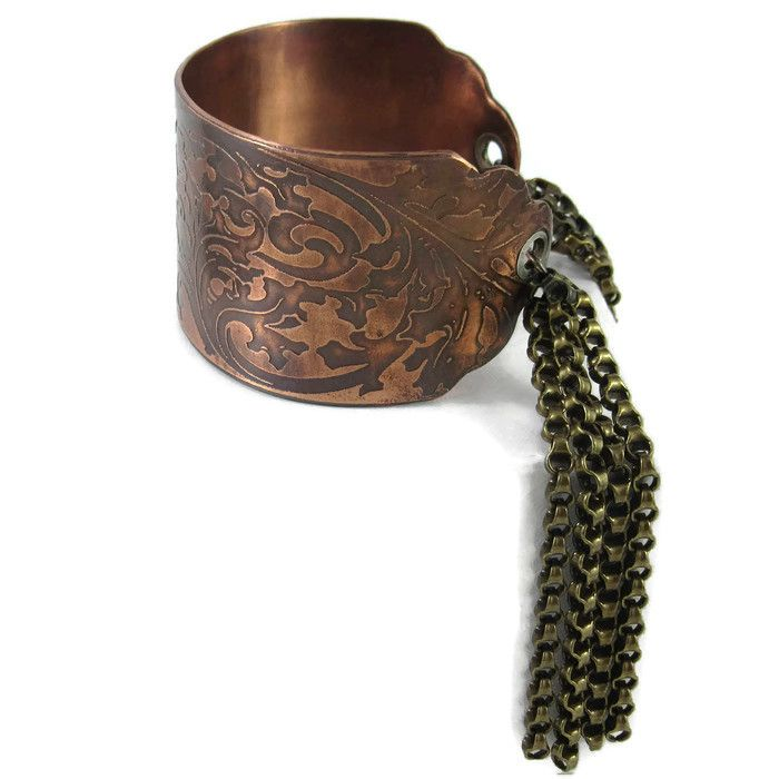 Gypsy Boho Copper Cuff Bracelet with Sterling Silver Grommets and Copper Chain Tassels