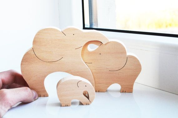 Animal puzzle - Wooden elephants family - Puzzle Toy - Wooden Puzzle elephant - Educational toys - Kids gifts
