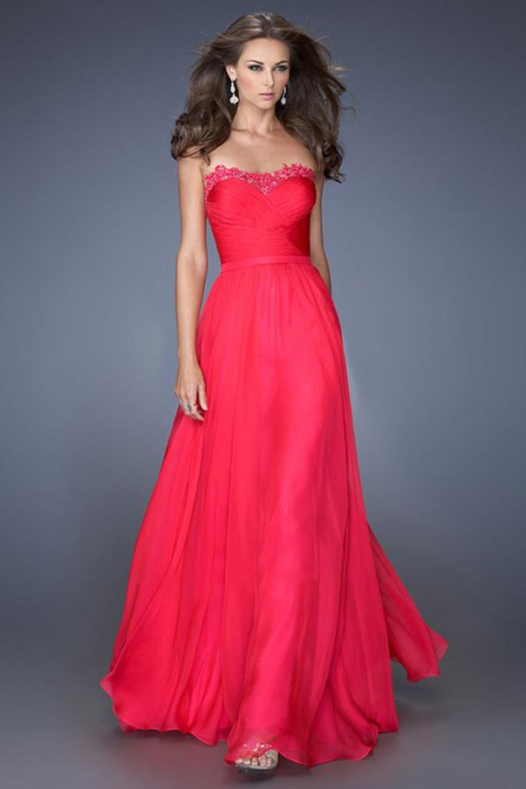 2014 Sweetheart Neckline With Applique Pleated Bodice Floor Length Flowing  Chiffon Skirt USD