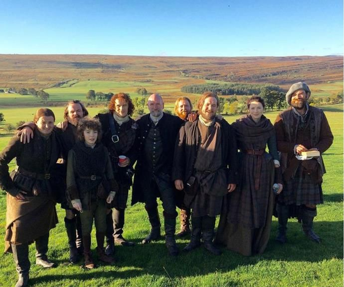 The *Outlander* cast soaks up the sunshine in Scotland.
