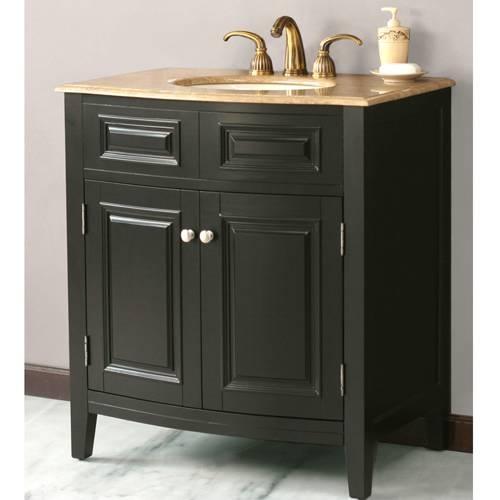 Web Image Gallery Virtu USA LS T Seville Black Traditional Bathroom Vanity with Travertine Top