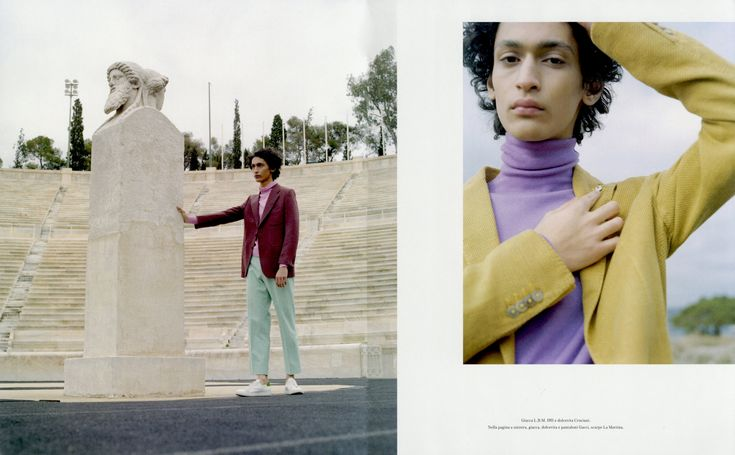 "Sami Younis photographed by Kent Andreasen and styled by Marco Dellassette for ""Tra rovine di atene"" story featured in Icon Panorama march edition, issue 33."