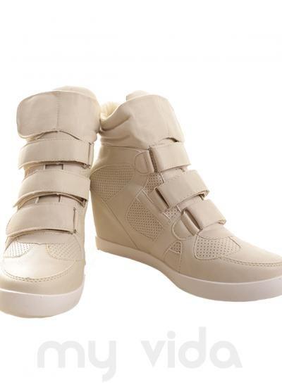 BEIGE - Sneakers donna alte con rialzo interno e chiusura con strappi. Scarpe donna da ginnastica comode e facili da calzare