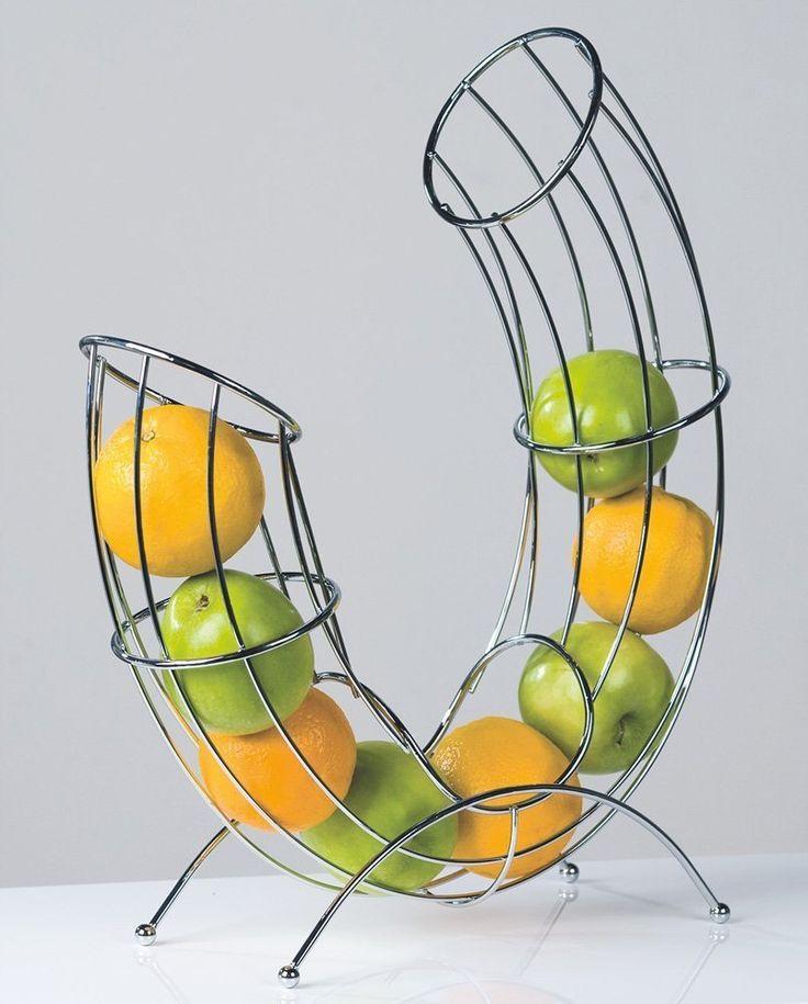 Designer-Obstkorb Früchtekorb Obstschale Pipe aus Metall silber verchromt 43 cm hoch: Amazon.de: Küche & Haushalt