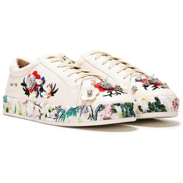 Nasty Gal Floral Sneaker ($50) ❤ liked on Polyvore featuring shoes, sneakers, nude, vegan sneakers, nasty gal shoes, embroidered shoes, floral print sneakers and floral shoes