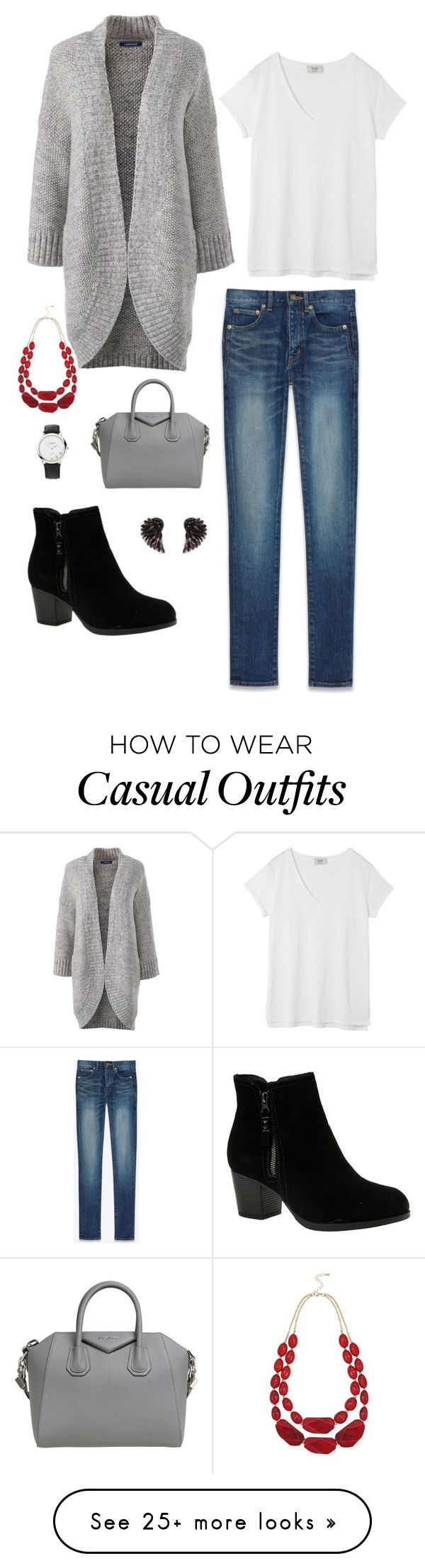 """Casual"" by paulina-xxiv on Polyvore featuring Lands' End, Yves Saint Laurent, Skechers, Hush, Givenchy, Henri Bendel, Links of London and M&Co"