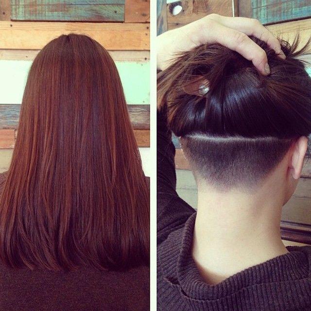 HiddenTreasure #undercut #longlocks #girlswithshavedheads #napebuzz #buzzcut  Thx @hairstylesbycali