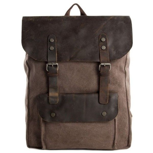 Canvas Leather Backpack Casual Backpack Rucksack School Backpack 6876A ($59) ❤ liked on Polyvore featuring bags, backpacks, brown leather rucksack, brown leather bag, brown backpack, leather rucksack and leather knapsack