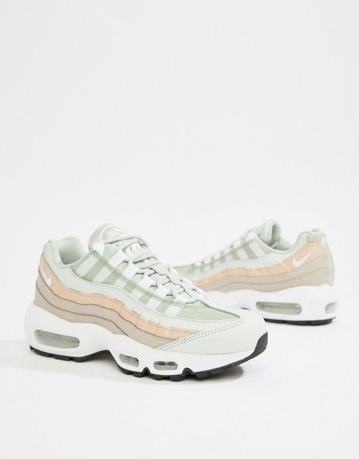 0381435884a5 Nike White And Pink Air Max 95 Trainers in 2019   rag inspo   Shoes ...