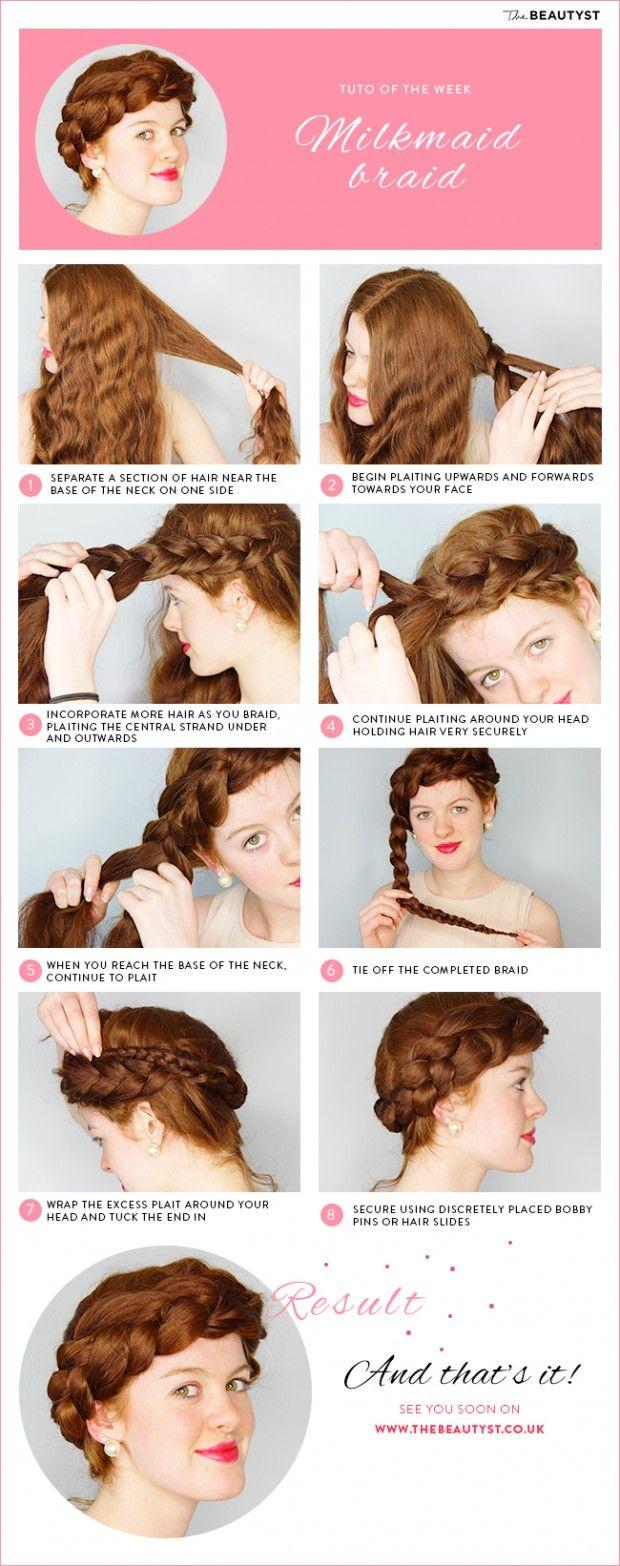 Photo Hair Tutorial: The Milkmaid Braid by The Beautyst