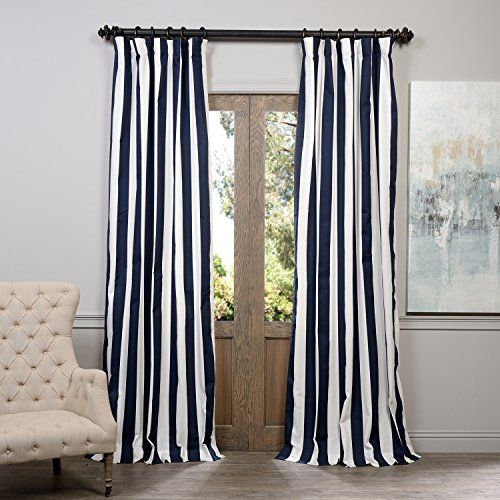 cabana navy printed cotton curtain 50 x 96 half price drapes panels u0026 panel sets window tr