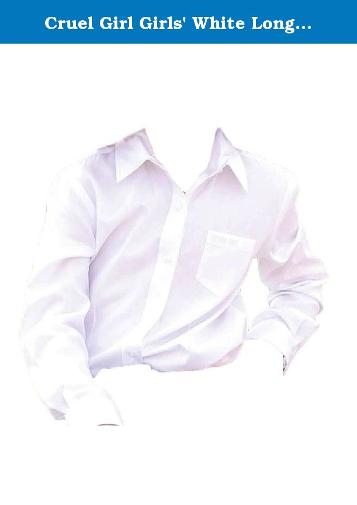 """Cruel Girl Girls' White Long Sleeve Button Up Top White Small. A classic button-up shirt for your little cowgirl by Cruel Girl This solid white shirt features embroidered """"Cruel Girl"""" text at the left chest pocket. Cotton twill material. Imported."""