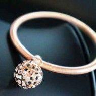 Bracelet Pink Rhinestones on Gold Metal