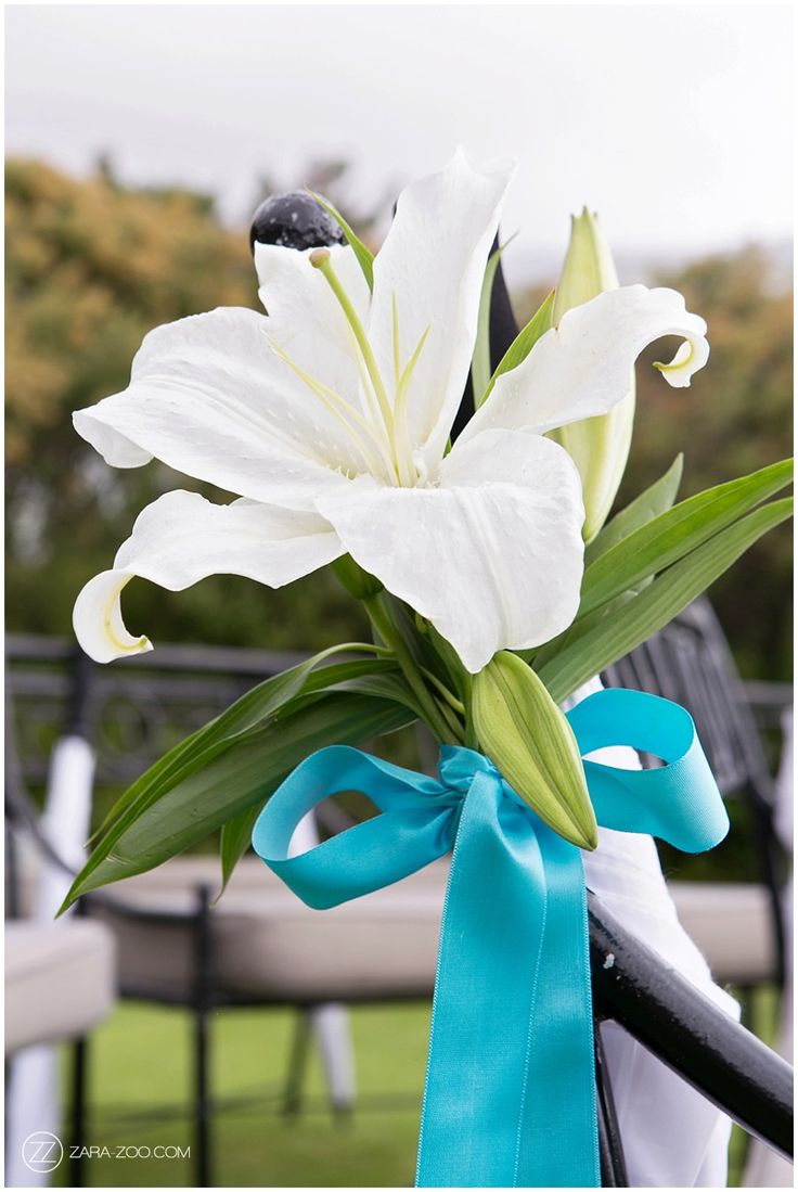 White Lily Wedding Flower with Turquoise Accent  #flowers #weddings