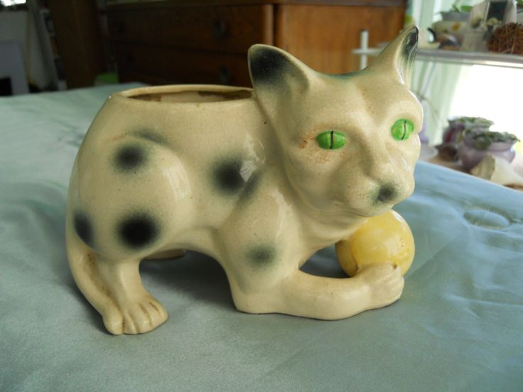 Vintage Scary Cat Planter Made in Japan with black spots holding a yellow ball,Very creepy cat,Muscular scary cat, by vintagetimemarket on Etsy