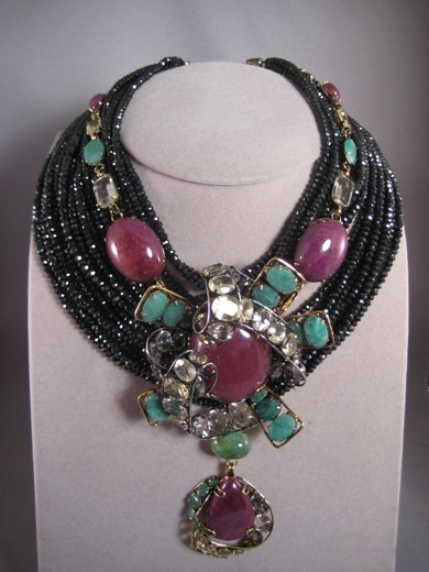 Iradj Moini necklace Rubies, citrines emeralds with black spinal stones