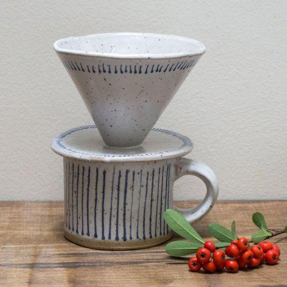 Coffee Dripper Hand built Pottery Ceramic by SarahStearnsCeramics